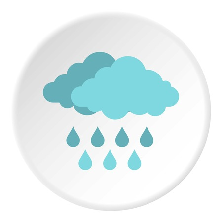 Cloud with rain icon in flat circle isolated vector illustration for web