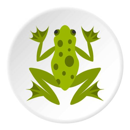 Frog icon in flat circle isolated vector illustration for web