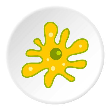ameba: Amoeba icon in flat circle isolated vector illustration for web