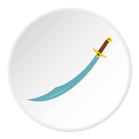 heritage protection: Arabian scimitar sword icon in flat circle isolated vector illustration for web
