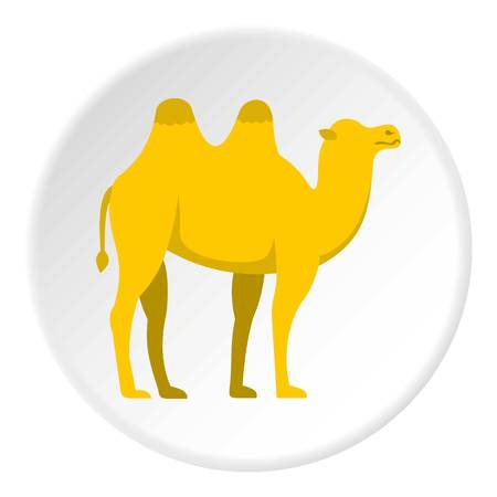Yellow camel icon in flat circle isolated vector illustration for web