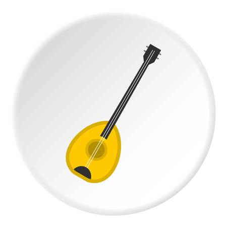Saz baglama turkish music instrument icon in flat circle isolated vector illustration for web