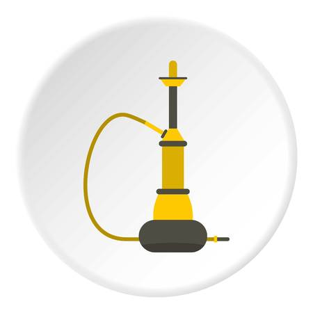 hooka: Yellow hookah icon in flat circle isolated vector illustration for web Illustration