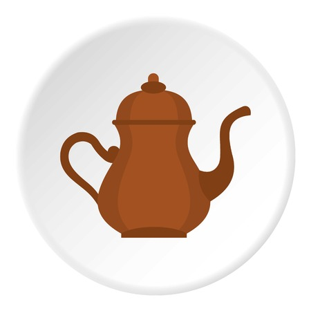 middle eastern food: Oriental turkish kettle for tea icon in flat circle isolated vector illustration for web
