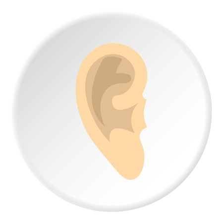 Human ear icon in flat circle isolated vector illustration for web
