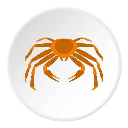 Crab sea animal icon in flat circle isolated vector illustration for web