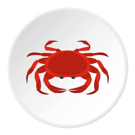 crab legs: Big red crab icon in flat circle isolated vector illustration for web