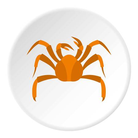 Big crab icon in flat circle isolated vector illustration for web