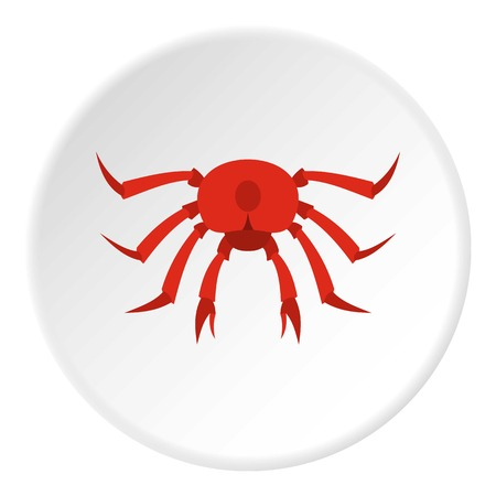 Red crab icon in flat circle isolated vector illustration for web