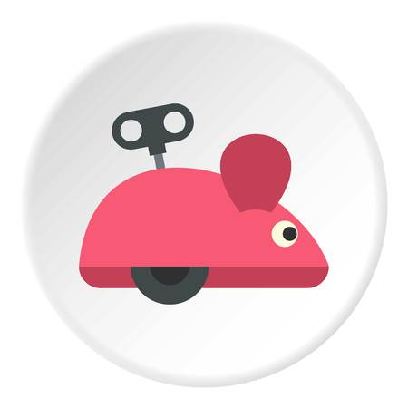 prankster: Clockwork mouse icon in flat circle isolated vector illustration for web