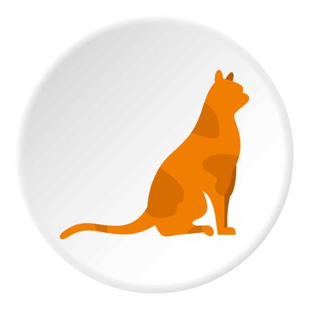 Sitting cat icon in flat circle isolated vector illustration for web