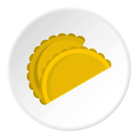 Two empanadas icon in flat circle isolated vector illustration for web