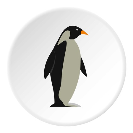 Penguin icon in flat circle isolated vector illustration for web Иллюстрация