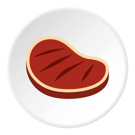 Tenderloin beef steak icon in flat circle isolated vector illustration for web