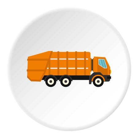 Garbage truck icon in flat circle isolated vector illustration for web