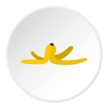 Banana skin icon in flat circle isolated vector illustration for web Çizim