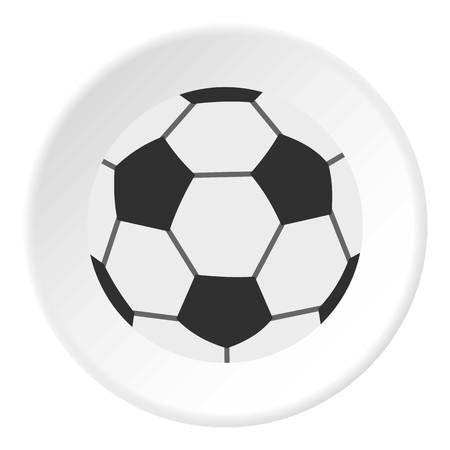Soccer ball icon in flat circle isolated vector illustration for web