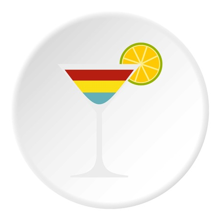 Cocktail icon in flat circle isolated vector illustration for web
