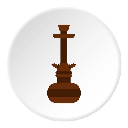 inhalation: Brown arabic hookah icon circle