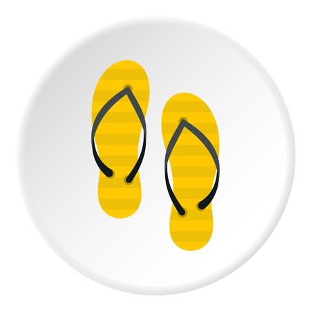 Flip flop icon in flat circle isolated vector illustration for web