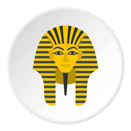 Egyptian golden pharaohs mask icon circle