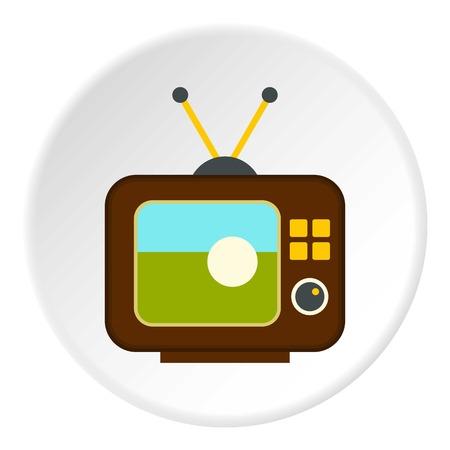 Ball on the screen of retro TV icon circle Illustration