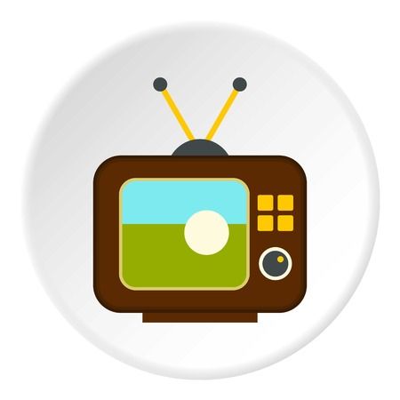 Ball on the screen of retro TV icon circle Illustration