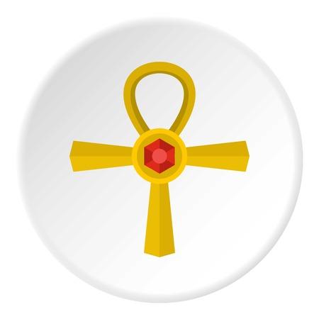 Golden Ankh symbol icon circle