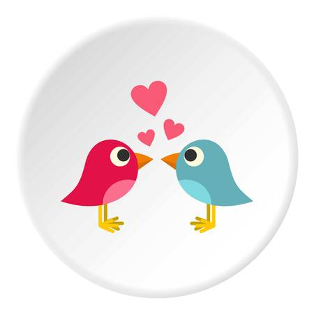 Blue and pink birds with hearts icon in flat circle isolated vector illustration for web