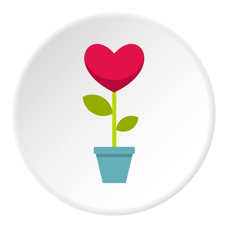 Pink heart flower in a pot icon circle