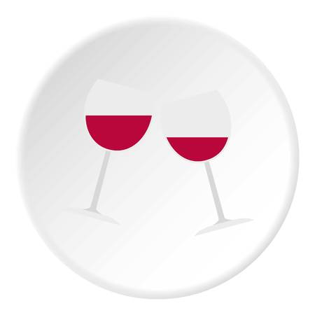 Two glasses of red wine icon circle