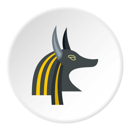Anubis head icon in flat circle isolated vector illustration for web