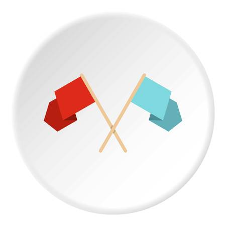 vitality: Red and blue crossed flags icon circle