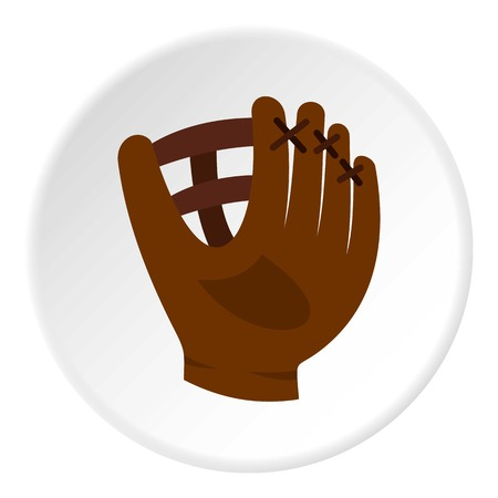 Brown leather baseball glove icon circle