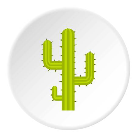 Green cactus icon in flat circle isolated vector illustration for web