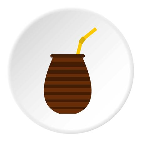 mate infusion: Chimarrao for mate or terere icon in flat circle isolated vector illustration for web
