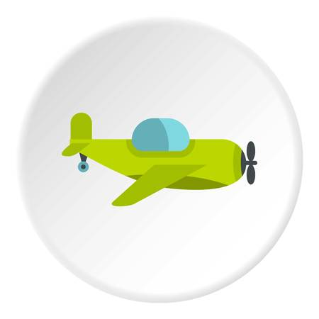 Green toy plane icon in flat circle isolated vector illustration for web