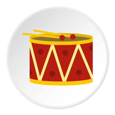 parade: Red drum and drumsticks icon in flat circle isolated vector illustration for web