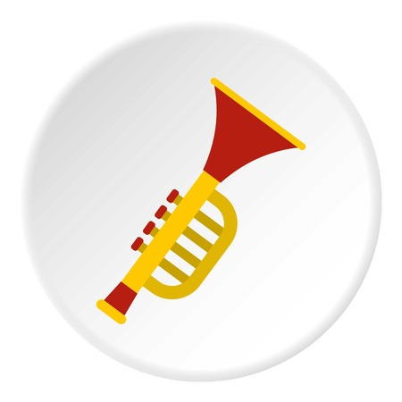 Colorful trumpet toy icon in flat circle isolated vector illustration for web