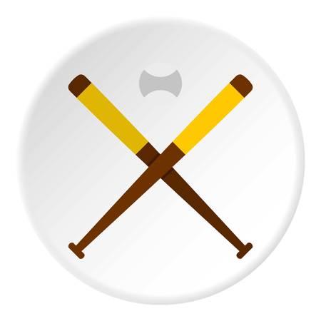 Baseball bats and baseball icon circle Illustration
