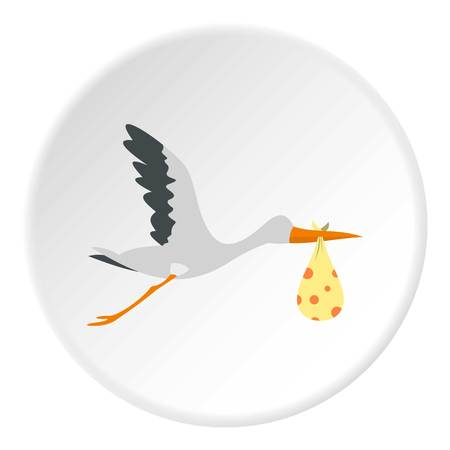 stork flying with bundle: Flying stork with a bundle icon in flat circle isolated vector illustration for web