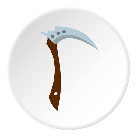 Japanese Kama weapon icon in flat circle isolated vector illustration for web