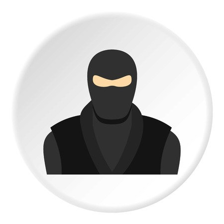 Ninja in black clothes and mask icon circle
