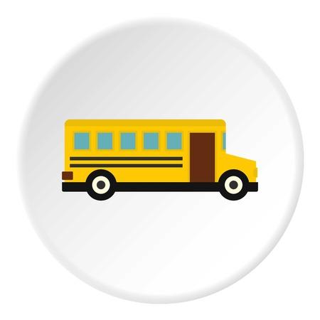 Círculo de ícone de ônibus escolar