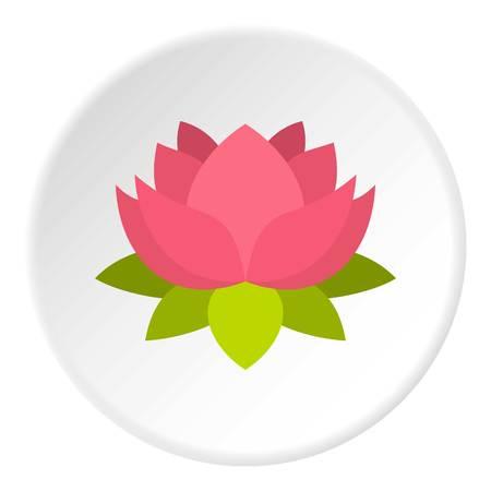 om sign: Pink lotus flower icon circle Illustration