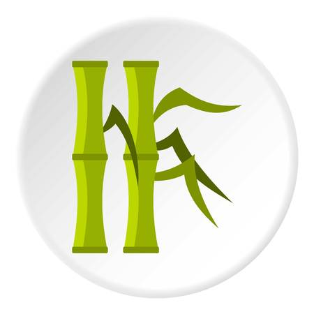 Green bamboo stems icon circle