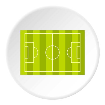 soccer goal: Football or soccer field icon in flat circle isolated vector illustration for web