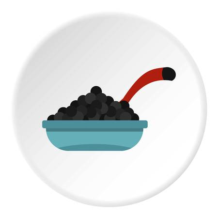Black caviar icon in flat circle isolated vector illustration for web
