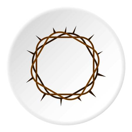Crown of thorns icon in flat circle isolated vector illustration for web Vettoriali