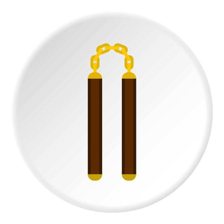 Nunchaku weapon icon in flat circle isolated vector illustration for web Illustration